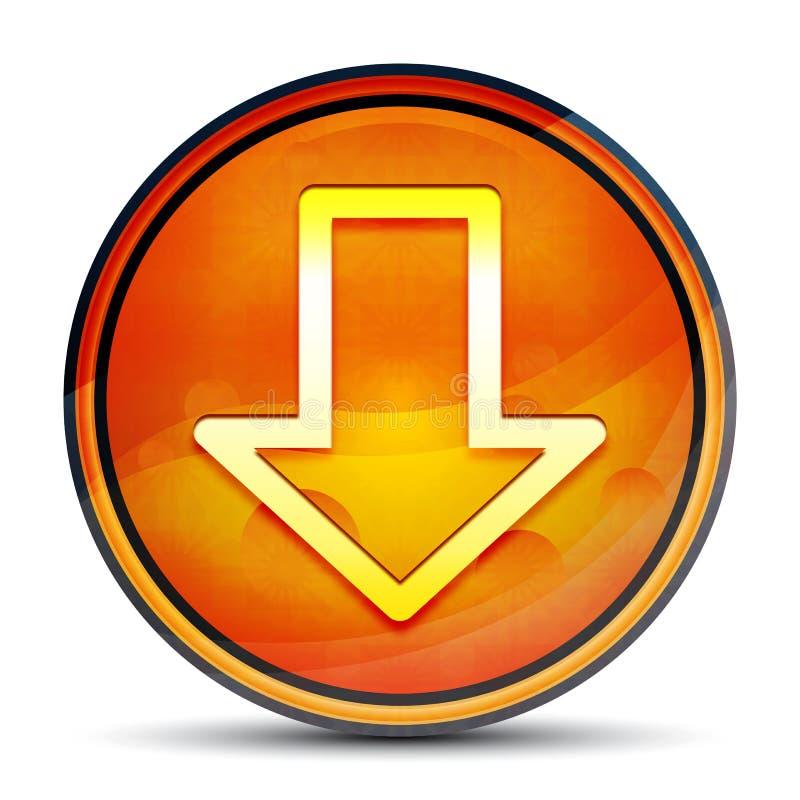 Download icon shiny bright orange round button illustration. Download icon isolated on shiny bright orange round button illustration stock image