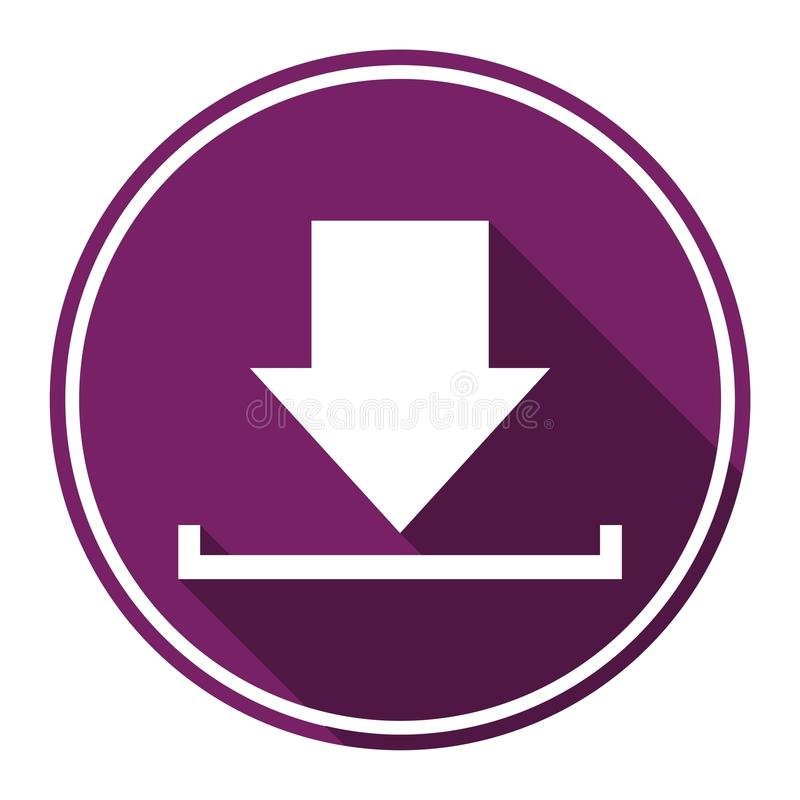 Download icon, Upload button, Load symbol with long shadow. Icon vector illustration