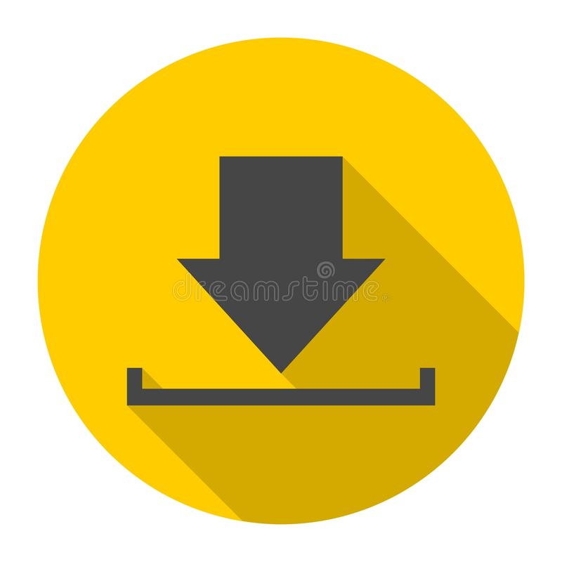 Download icon, Upload button, Load symbol with long shadow. Vector icon stock illustration