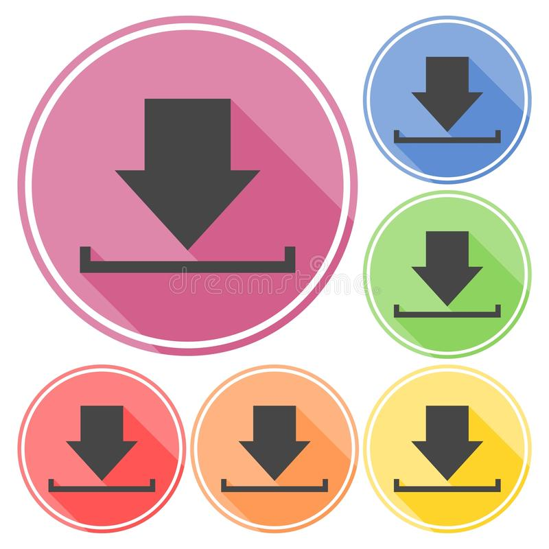 Download icon, Upload button, Load symbol set with long shadow. Icon stock illustration