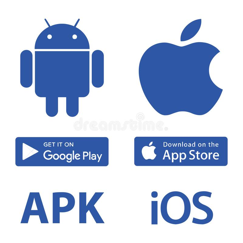 Download Icons Android Apple. Download Victor Android Iphone Apple apk ios google play app store icon Infographics stock illustration