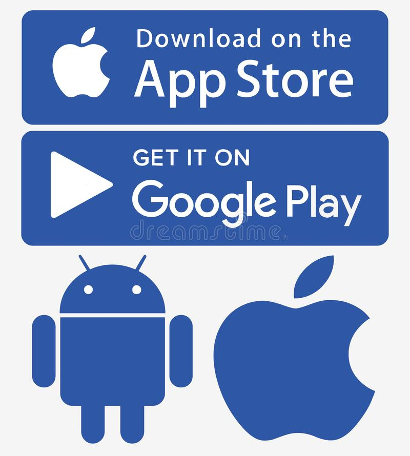 Icons app store google play iphone android. Download icons app store google play Transparent new 2018 logos app store google play iphone android stock illustration