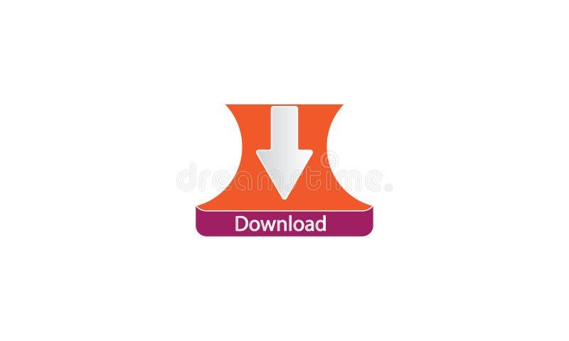 Download Logo Template - icona di web di download di web - Logotype fresco di simbolo di download di web nuovo illustrazione vettoriale