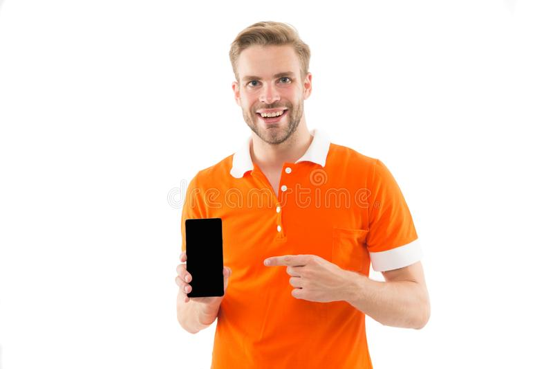 Download new version. Software update. Guy bearded smartphone user. Guy shows smartphone screen copy space. Man. Satisfied user recommends try application for royalty free stock photo