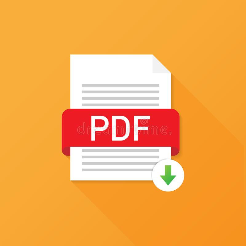 Download PDF button. Downloading document concept. File with PDF label and down arrow sign. Vector illustration. Download PDF button. Downloading document vector illustration