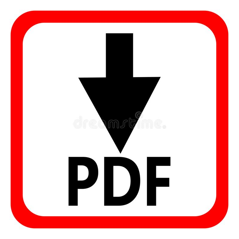 Download pdf file button isolated on white background. Vector illustration. stock illustration