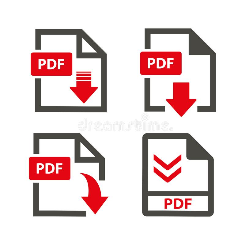 Download pdf icons on white background. Download pdf icons set stock vector on white background royalty free illustration