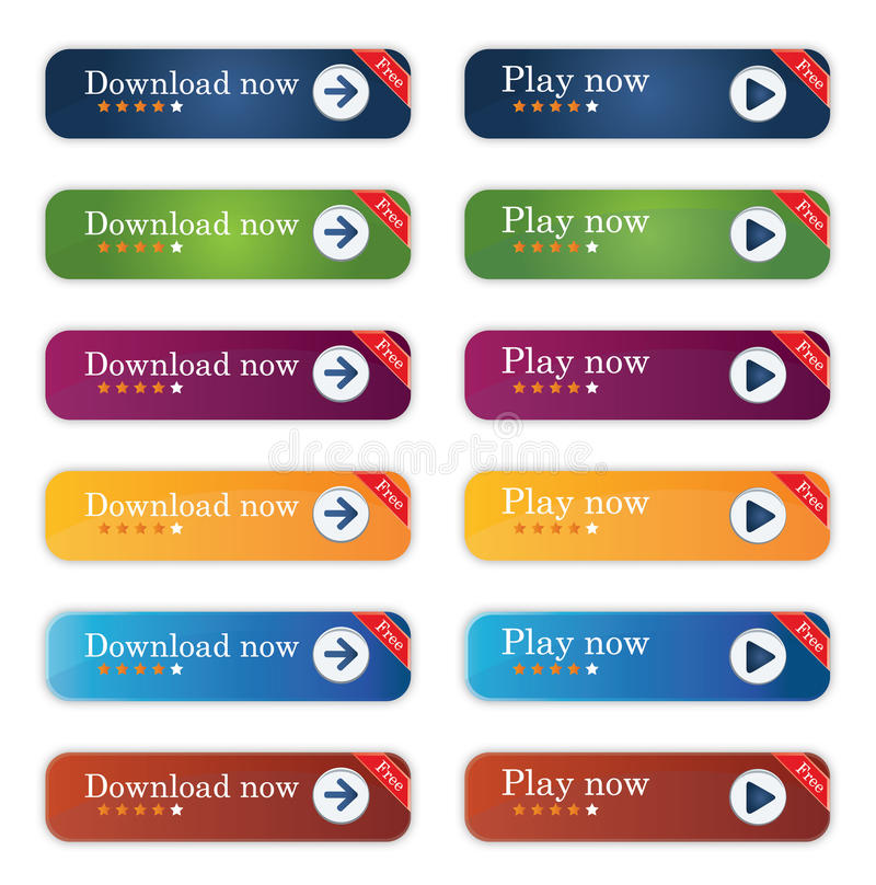 Download And Play Buttons Stock Photography