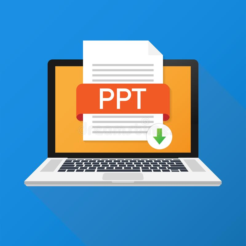 Download PPT button on laptop screen. Downloading document concept. File with PPT label and down arrow sign. Vector illustration. Download PPT button on laptop stock illustration