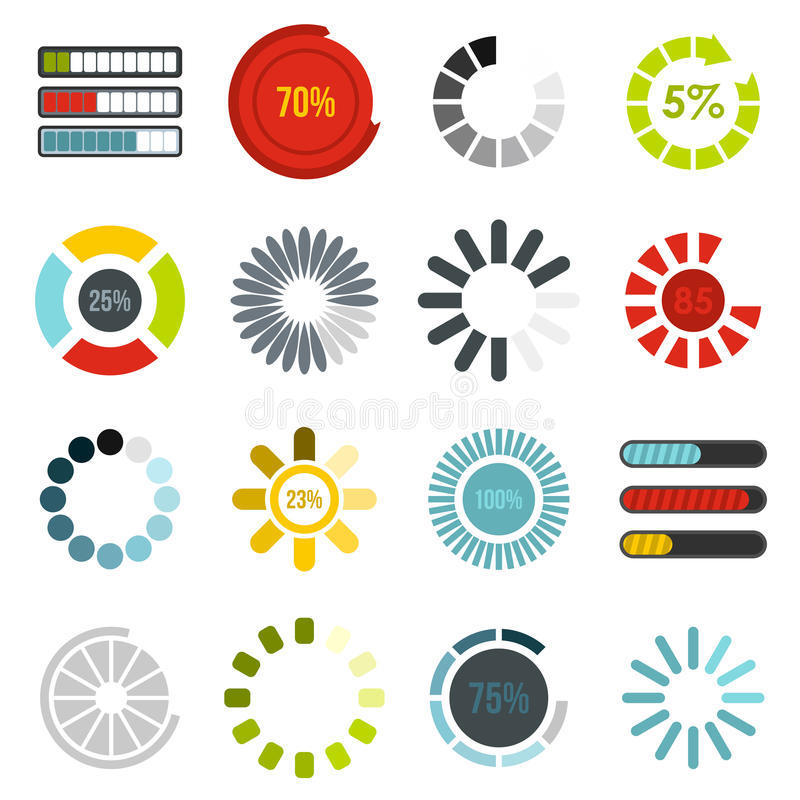 Download progress bar icons set, flat style royalty free illustration