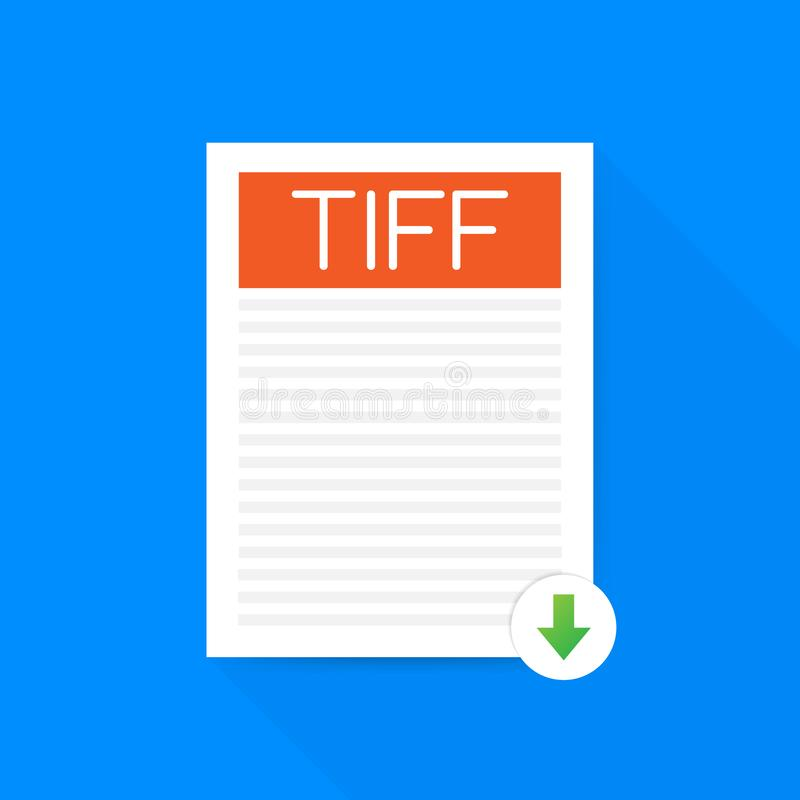 Download TIFF button. Downloading document concept. File with TIFF label and down arrow sign. Vector illustration. stock illustration