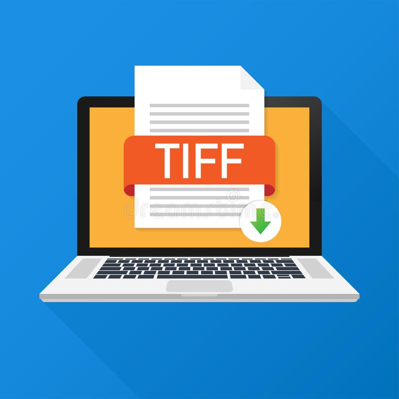 Download TIFF button on laptop screen. Downloading document concept. File with TIFF label and down arrow sign. vector illustration