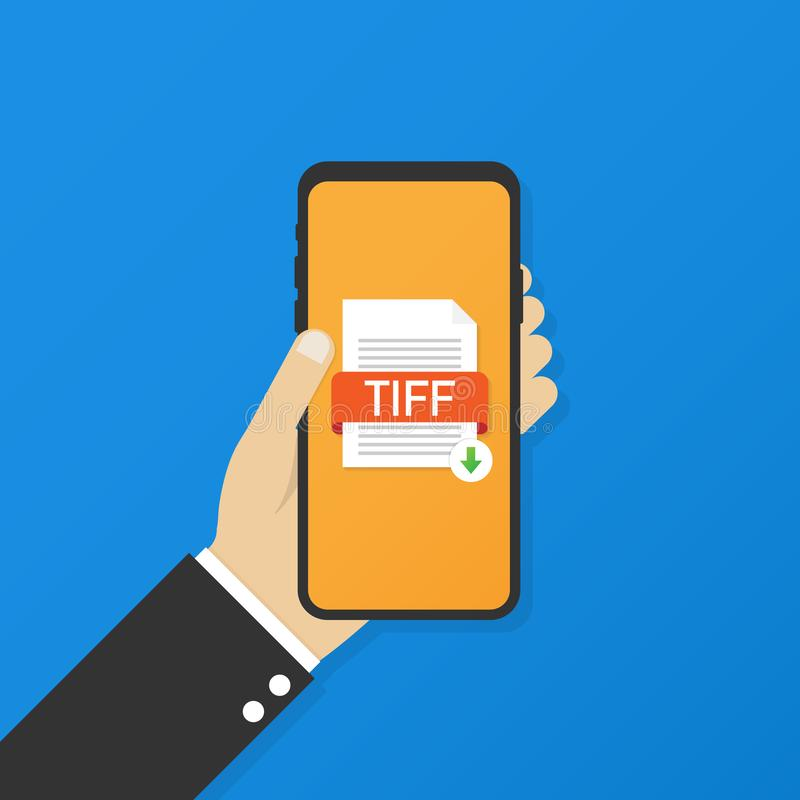 Download TIFF button on smartphone screen. Downloading document concept. File with TIFF label and down arrow sign vector illustration