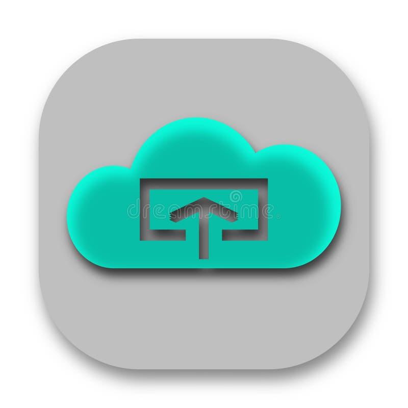 Download und Antriebskraft zur Wolken-APP-Ikone lizenzfreies stockbild