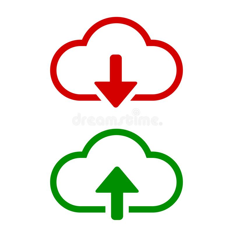 Download- und Antriebskraftvektorikone Flaches Zeichen für bewegliches Konzept und Webdesign Wolke mit Pfeil auf und ab einfache  stock abbildung