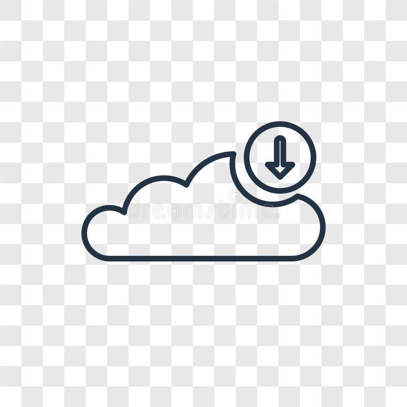 Download van het vector lineaire die pictogram van het Wolkenconcept wordt geïsoleerd trans vector illustratie