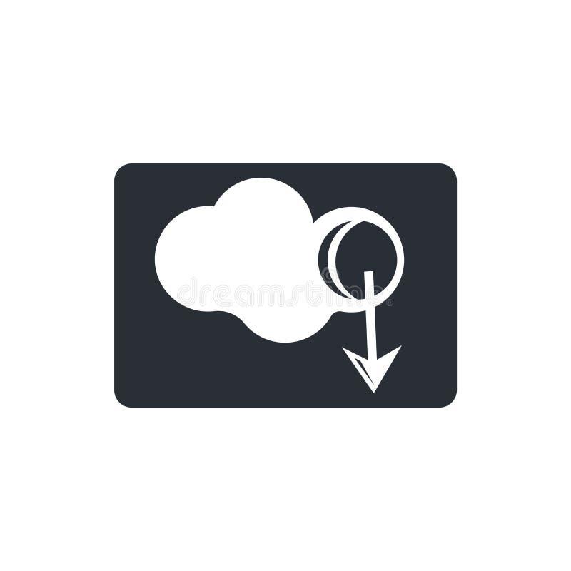 Download van het Virtuele vectordieteken en het symbool van het Wolkenpictogram op witte achtergrond, Download van het Virtuele c royalty-vrije illustratie
