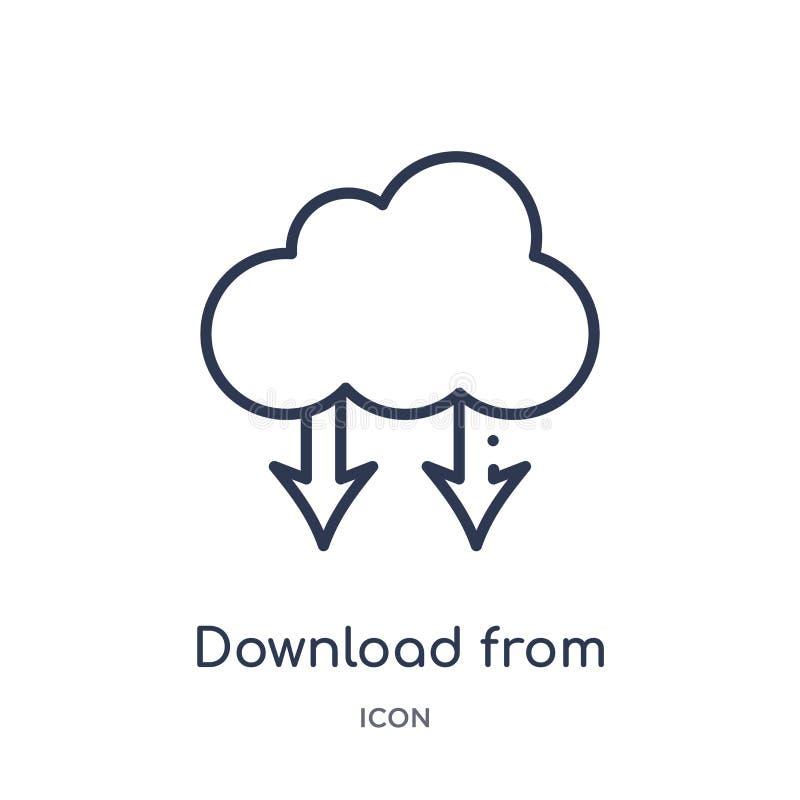 download van het wolkenpictogram van het wolkenpictogram van de inzameling van het gebruikersinterfaceoverzicht Dunne lijndownloa royalty-vrije illustratie