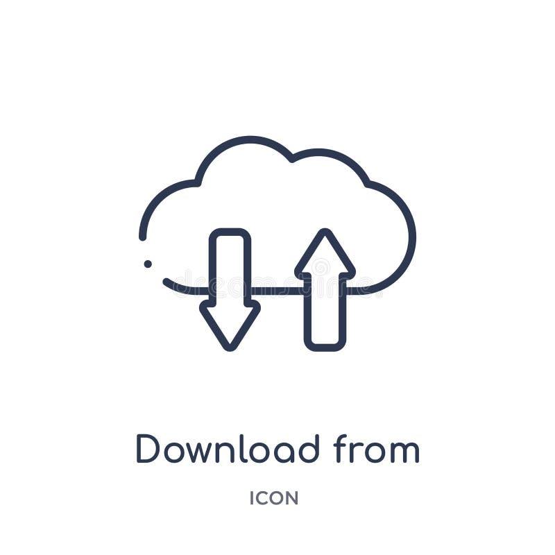 download van virtueel wolkenpictogram van virtueel wolkenpictogram van de inzameling van het technologieoverzicht Dunne lijndownl stock illustratie