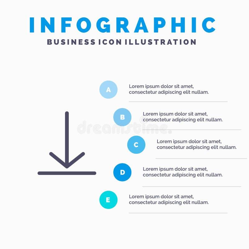 Download, Video, het Stevige Pictogram Infographics 5 van Twitter de Achtergrond van de Stappenpresentatie royalty-vrije illustratie