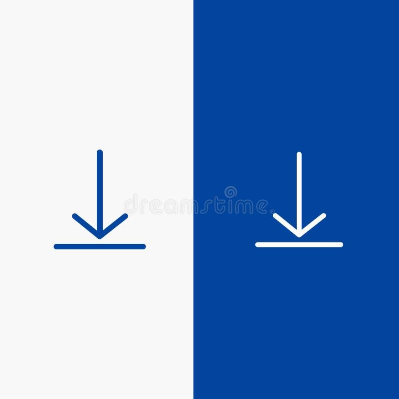 Download, Video, Twitter-Lijn en Lijn van de het pictogram Blauwe banner van Glyph de Stevige en Stevige het pictogram Blauwe ban royalty-vrije illustratie