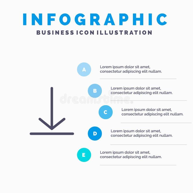 Download, Video, Twitter-Lijnpictogram met infographicsachtergrond van de 5 stappenpresentatie stock illustratie