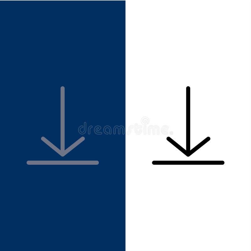 Download, Video, Twitter-Pictogrammen Vlak en Lijn vulde Pictogram Vastgestelde Vector Blauwe Achtergrond royalty-vrije illustratie