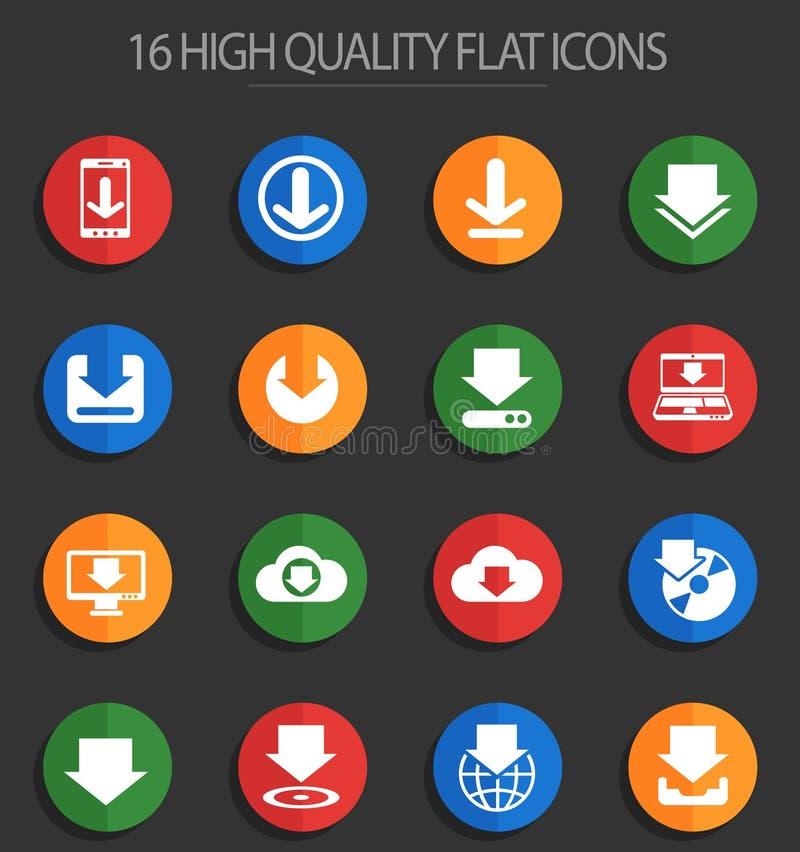 Download 16 vlakke pictogrammen royalty-vrije illustratie