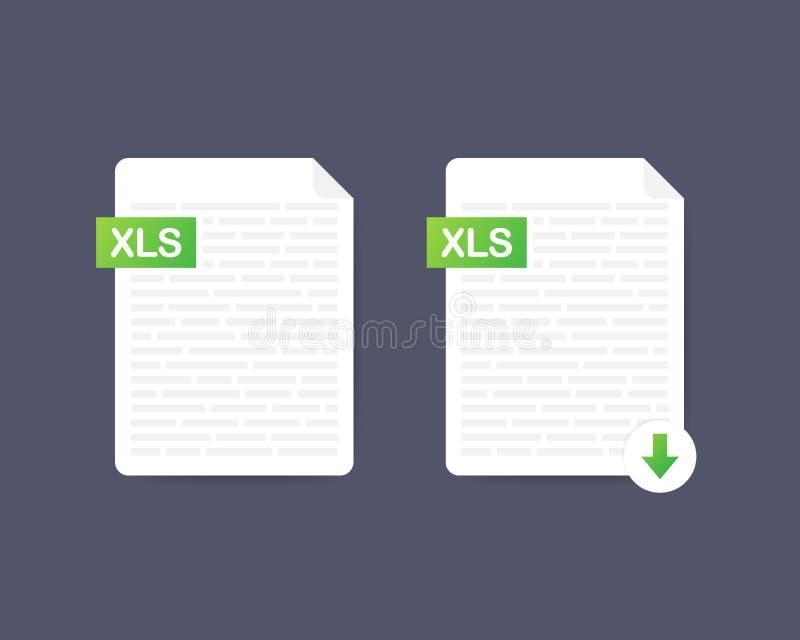 Download xls knoop Het downloaden van documentconcept Dossier met XLS-etiket en benedenpijlteken Vector voorraadillustratie vector illustratie