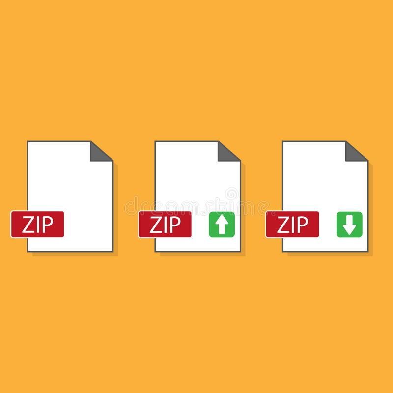 Download ZIP icon. File with ZIP label and down arrow sign. Archive file format. Downloading document concept. Flat design vector stock illustration