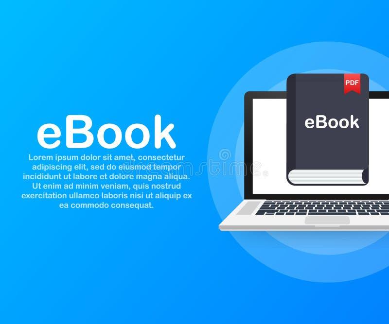 Downloadboek E-book marketing, inhoud marketing, ebook download op laptop Vector illustratie stock illustratie