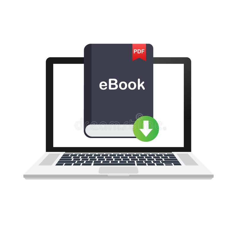 Downloadboek E-book marketing, inhoud marketing, ebook download op laptop Vector illustratie vector illustratie