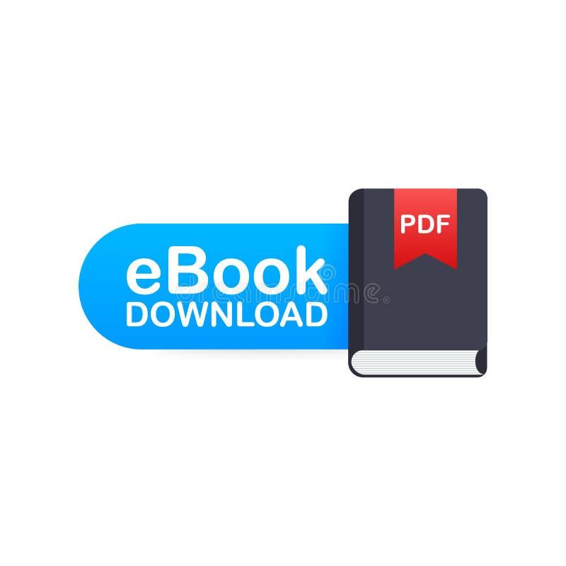 Downloadboek E-book marketing, inhoud marketing, ebook download Vector illustratie stock illustratie