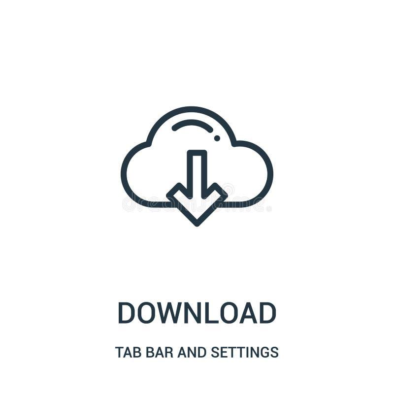 Downloadikonenvektor von der Vorsprungsstange und von der Einstellungssammlung D?nne Linie Downloadentwurfsikonen-Vektorillustrat stock abbildung