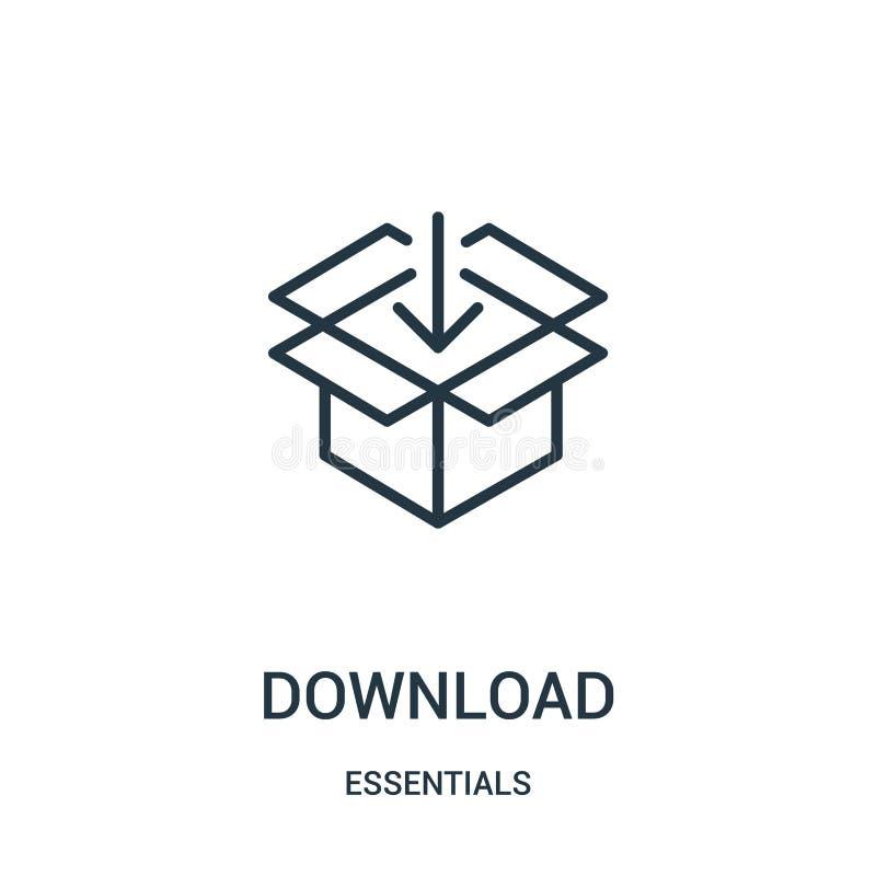 Downloadikonenvektor von der Wesensmerkmalesammlung Dünne Linie Downloadentwurfsikonen-Vektorillustration Lineares Symbol für Geb stock abbildung