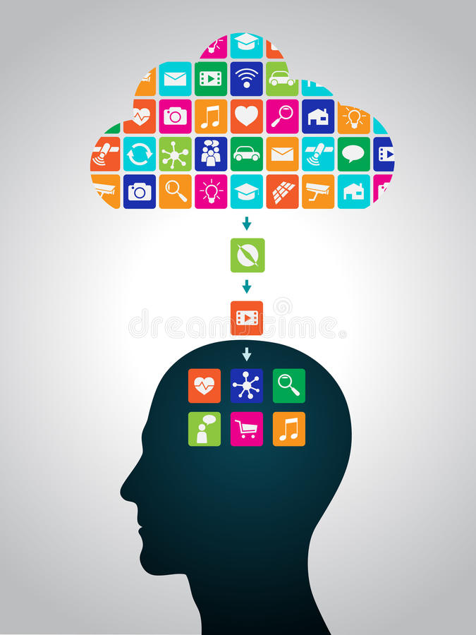 Downloading applications from the cloud to the head. Mobile applications are installed in the brain, replacing the mind vector illustration