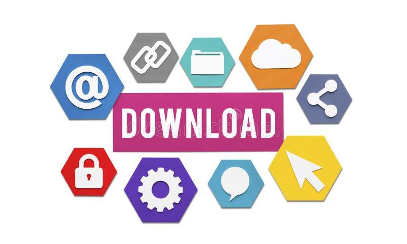 Downloading, das on-line-Internet-Konzept lädt lizenzfreie abbildung