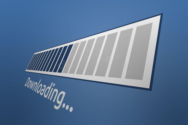 Downloading-Fortschrittsstange der Nahaufnahme-3D mit Downloading-Benennung stock abbildung