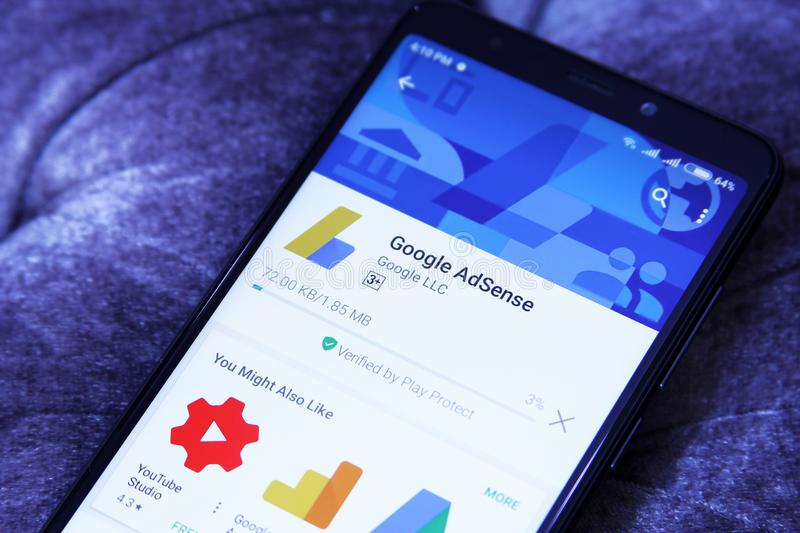Google AdSense app. Downloading Google AdSense application from google play store. Google AdSense is a program run by Google that allows publishers in the Google royalty free stock images