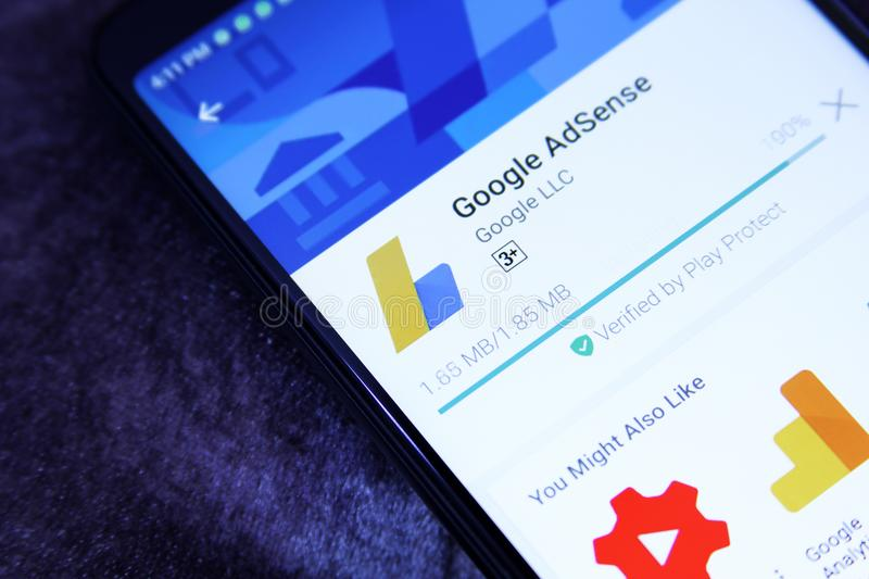 Google AdSense app. Downloading Google AdSense application from google play store. Google AdSense is a program run by Google that allows publishers in the Google stock photo