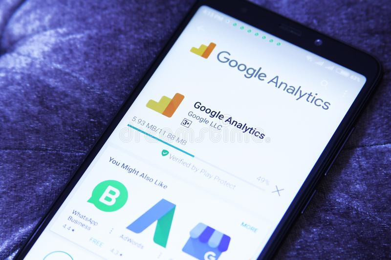 Google Analytics app. Downloading Google Analytics app from google play store. Google Analytics is a freemium web analytics service offered by Google that tracks stock photography