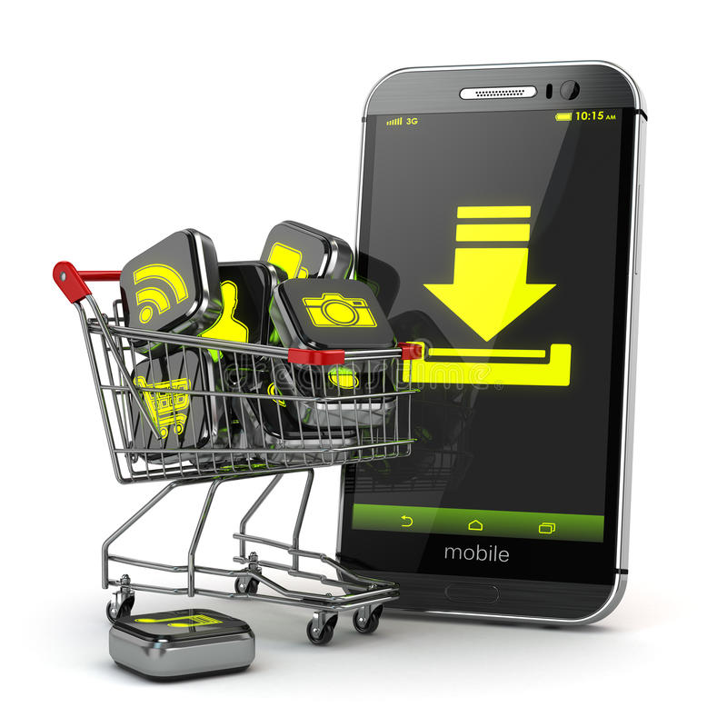 Downloading mobile apps concept. Application software icons in s. Hopping cart and smartphone. 3d royalty free illustration