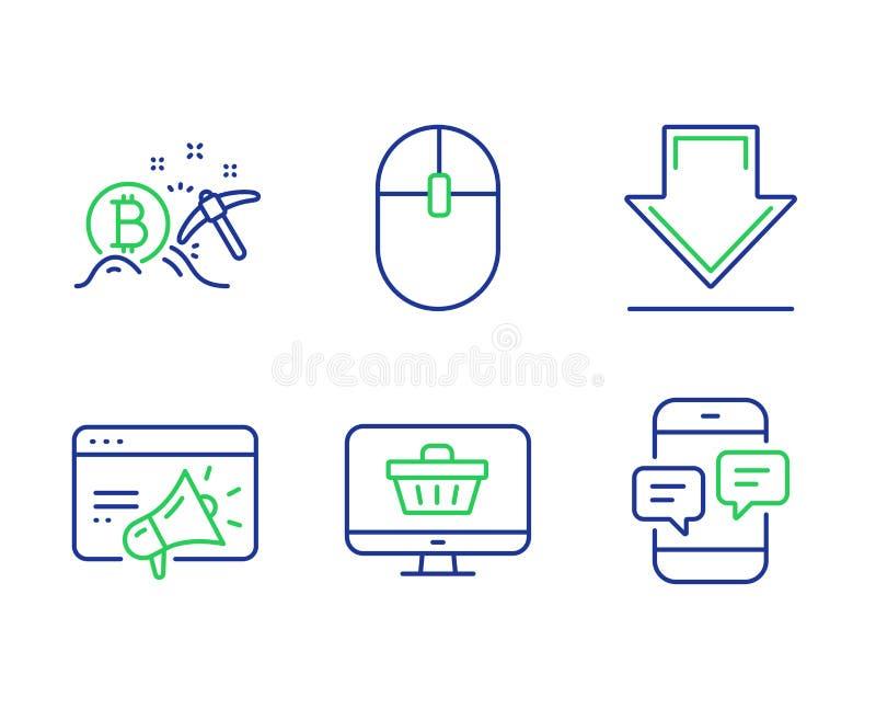 Downloading-, Netzgeschäft und vermarktender Ikonensatz Seo Computermaus, Bitcoin-Bergbau und Zeichen der telefonischen Mitteilun stock abbildung