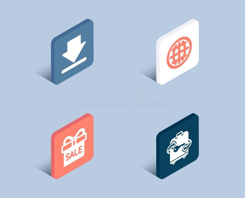 Downloading-, Verkaufsangebot und Kugelikonen Gepäckzeichen Lastsinformationen, Geschenkbox, Internet-Welt lizenzfreie abbildung
