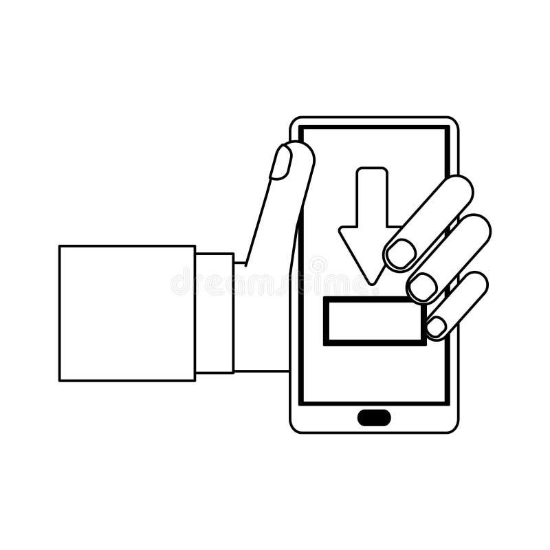 Downloading vom Smartphonesymbol Schwarzweiss lizenzfreie abbildung