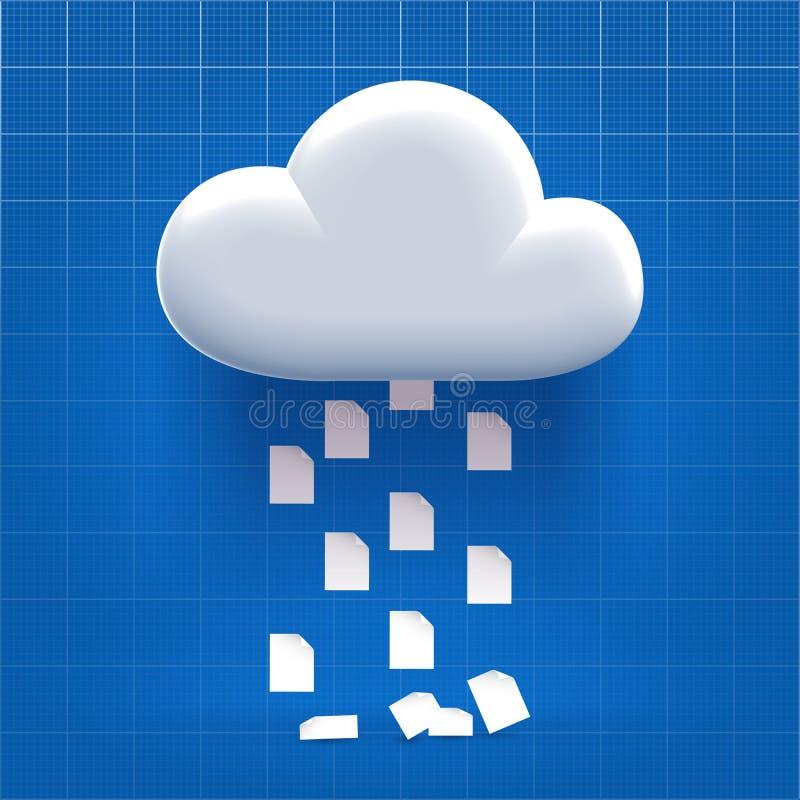 Downloading vom Wolkenspeicher vektor abbildung