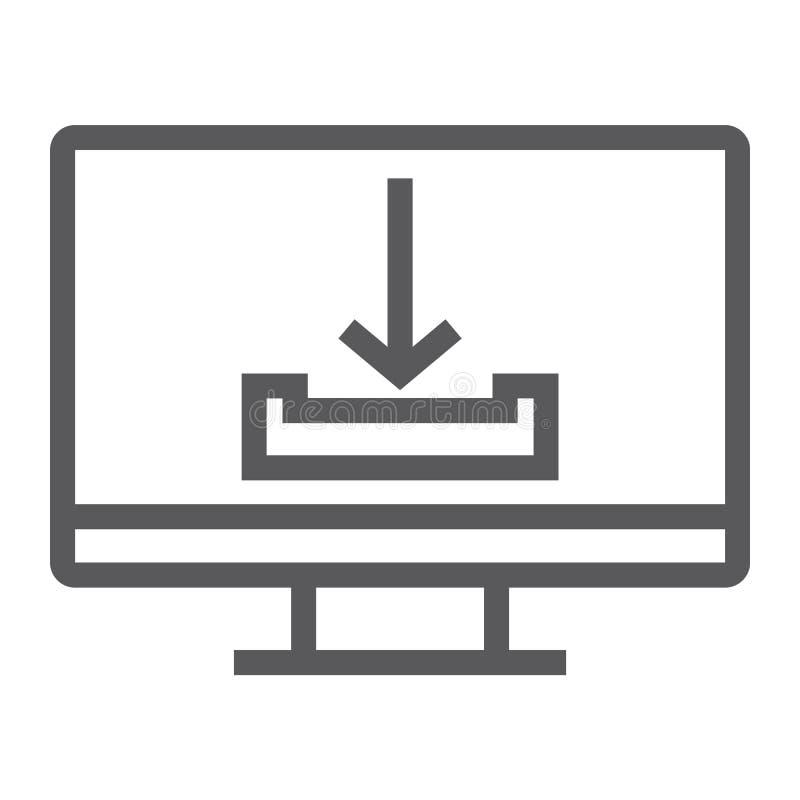 Downloadlinie Ikone, Computer und Downloading, Pfeilzeichen, Vektorgrafik, ein lineares Muster auf einem weißen Hintergrund stock abbildung