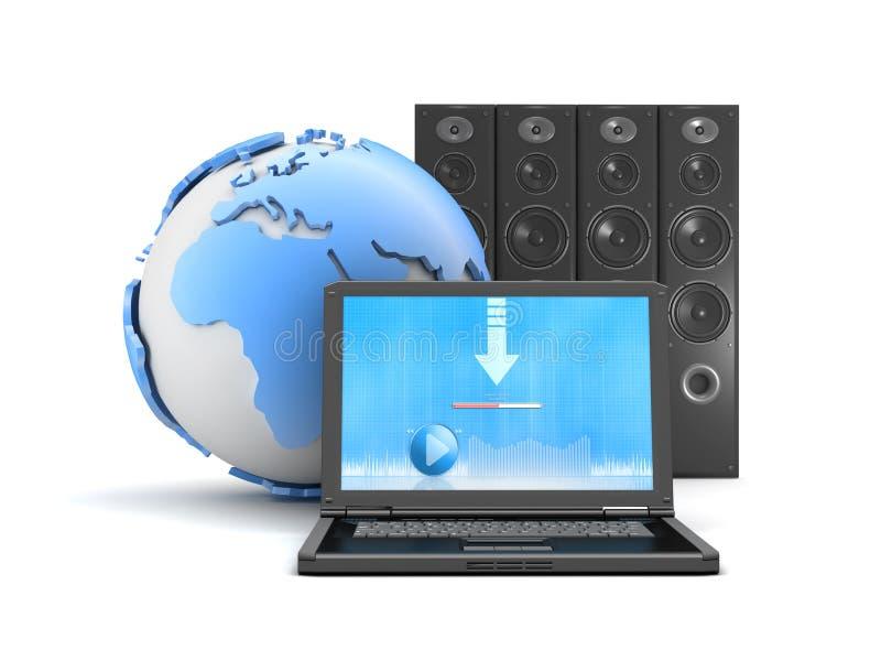 Downloadmuziek van Internet royalty-vrije illustratie