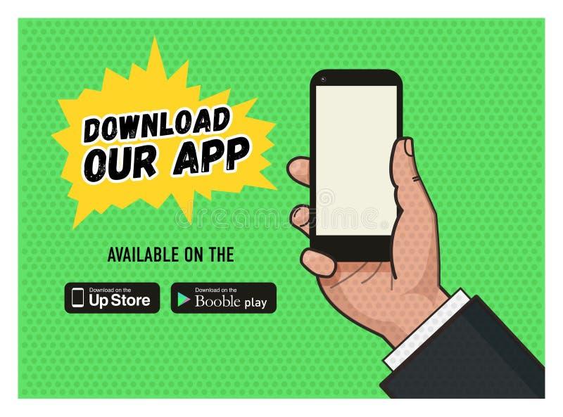 Downloadpagina van het mobiele overseinen app vector illustratie