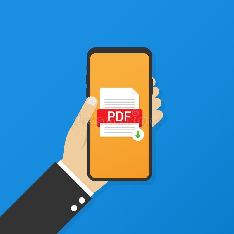 Downloadpdf knoop op het smartphonescherm Het downloaden van documentconcept Dossier met PDF-etiket en benedenpijlteken vector illustratie